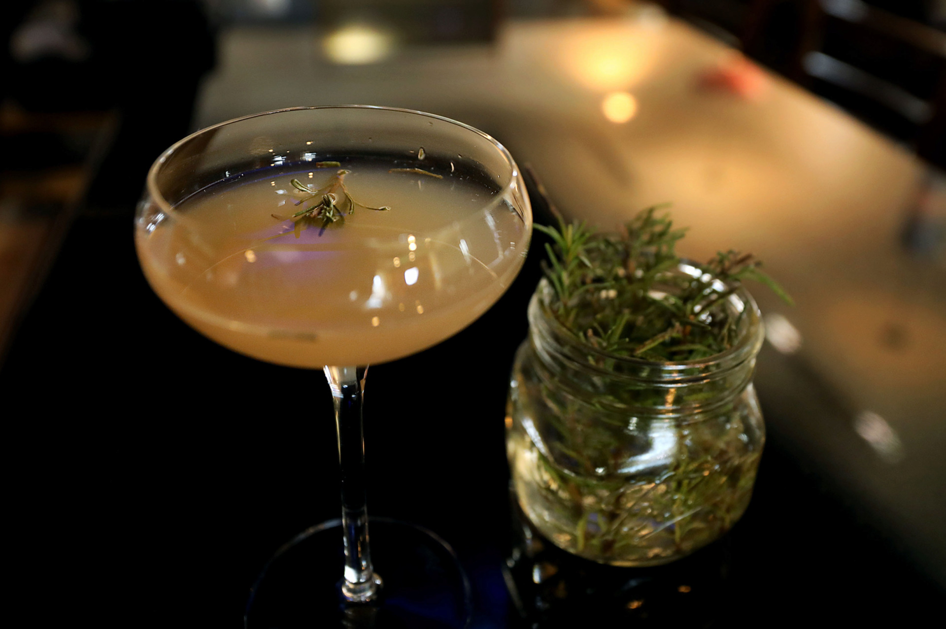 <strong>Rosemary&rsquo;s Gimlet, an herbaceous take on a classic cocktail made by Interim&rsquo;s Jeff Frisby, is this week's Bar Talk featured cocktail.</strong> (Patrick Lantrip/Daily Memphian)