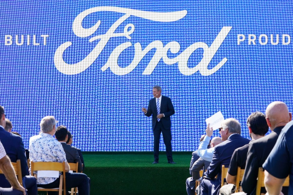 <strong>Tennessee Gov. Bill Lee speaks during the presentation on the planned factory to build electric F-Series trucks and batteries Tuesday, Sept. 28, 2021, at Shelby Farms.</strong> (Mark Humphrey/AP file)