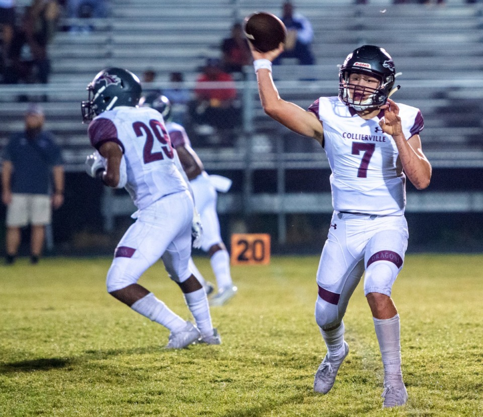 <strong>Collierville quarterback Houston Wilhelm passes the ball to an open receiver in the game against Germantown on Oct. 1, 2021.</strong> (Greg Campbell/Special to The Daily Memphian)