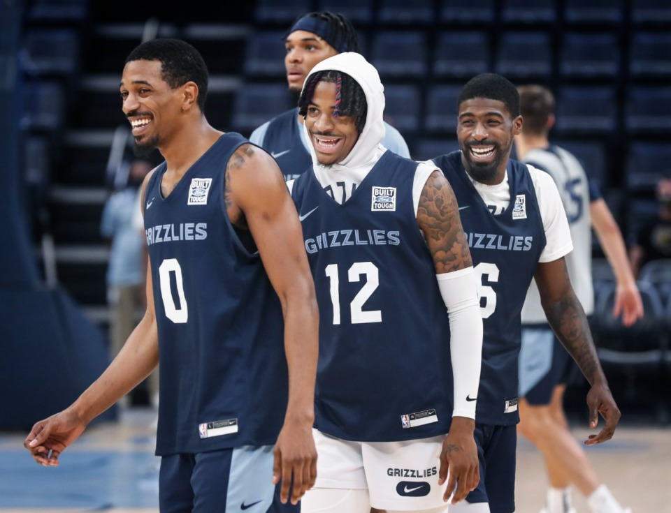 <strong>Memphis Grizzlies guards (left to right) De'Anthony Melton, Ja Morant and Shaq Buchann during open practice on Sunday, Oct. 3, 2021.</strong> (Mark Weber/The Daily Memphian)