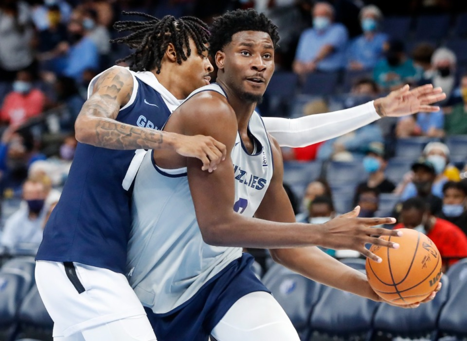 <strong>Memphis Grizzlies center Jaren Jackson Jr. (right) drives the lane in front of teammate Ja Morant (left) during open practice on Sunday, Oct. 3, 2021.</strong> (Mark Weber/The Daily Memphian)