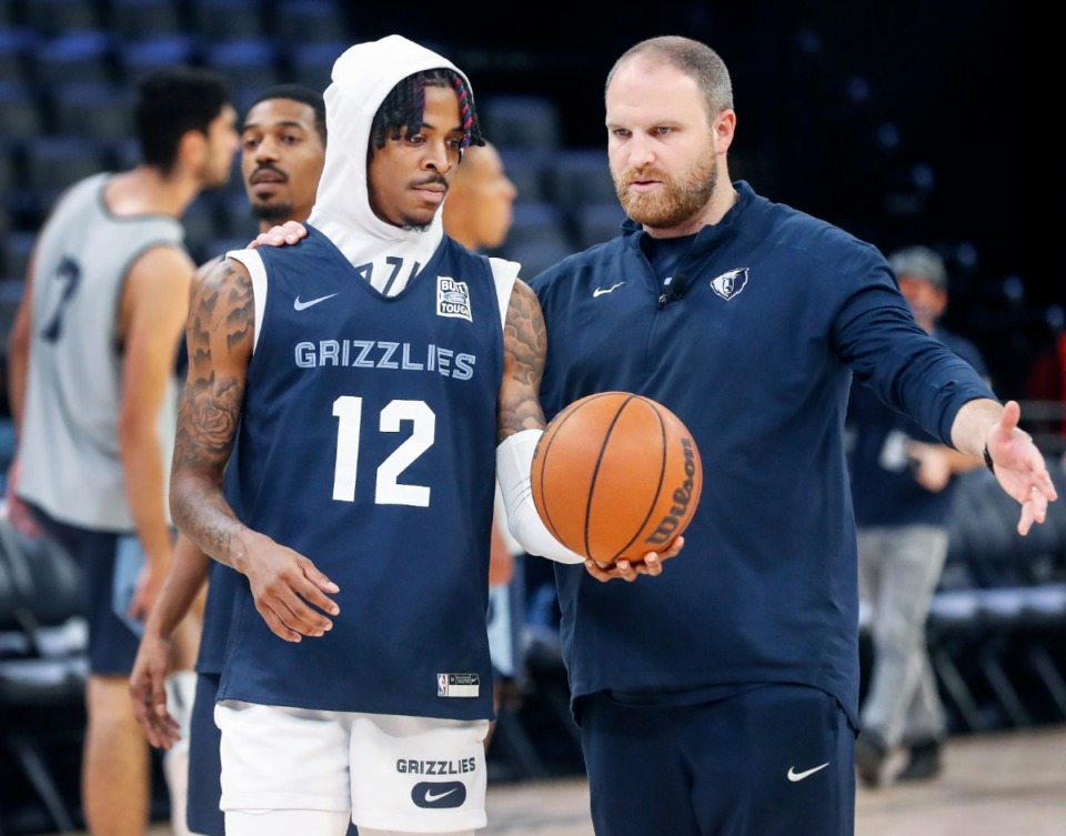 <strong>Memphis Grizzlies guard Ja Morant (left) talks with head coach Taylor Jenkins (right) during open practice on Sunday, Oct. 3, 2021.</strong> (Mark Weber/The Daily Memphian)