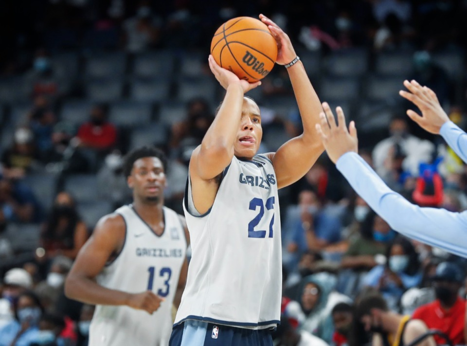 <strong>Memphis Grizzlies guard Desmond Bane puts a shot during open practice on Sunday, Oct. 3, 2021.</strong> (Mark Weber/The Daily Memphian)
