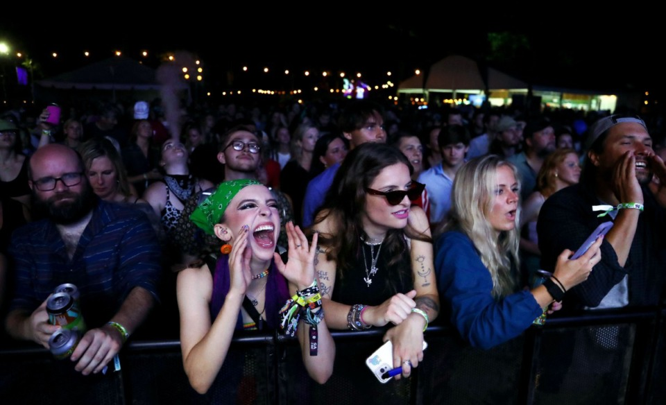 <strong>Audience members scream during Moon Taxi&rsquo;s performance at the Mempho Music Festival at the Memphis Botanic Garden&rsquo;s Radians Amphitheater Oct. 2, 2021.</strong> (Patrick Lantrip/Daily Memphian)