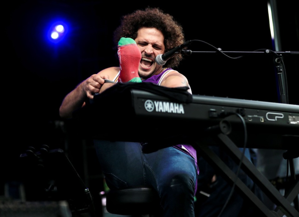 <strong>Andy Frasco takes off his sock mid-set during the Mempho Music Festival at the Memphis Botanic Garden&rsquo;s Radians Amphitheater Oct. 2, 2021.</strong> (Patrick Lantrip/Daily Memphian)