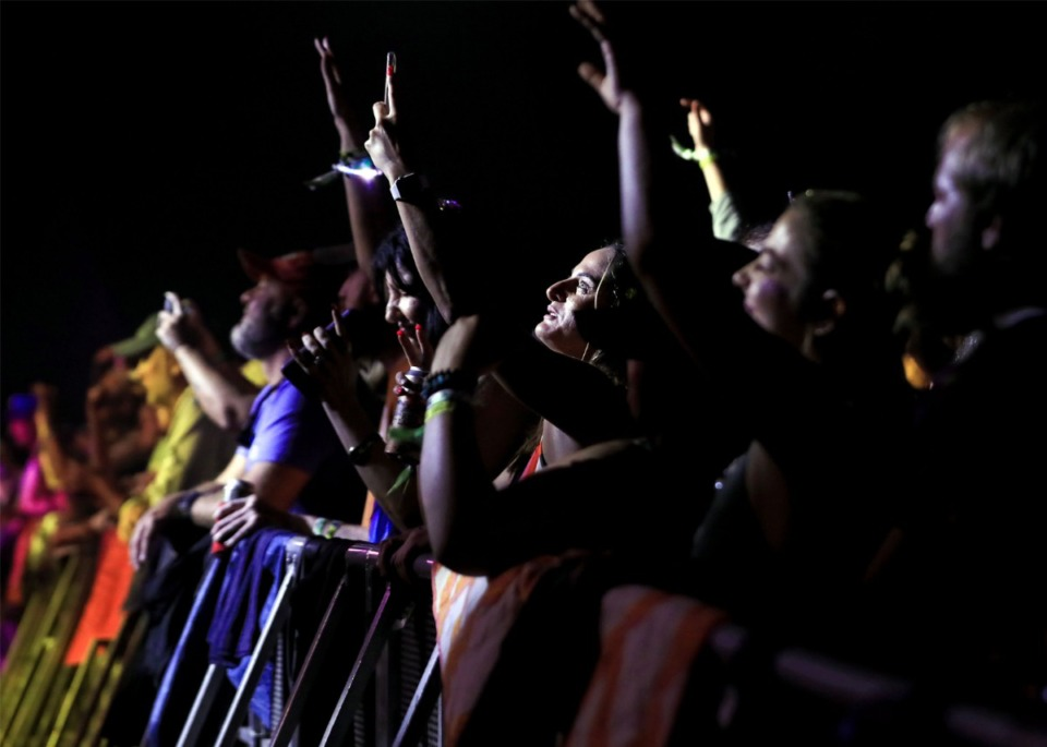 <strong>Audience members take pictures of Widespread Panic at the Mempho Music Festival at the Memphis Botanic Garden&rsquo;s Radians Amphitheater Oct. 2, 2021.</strong> (Patrick Lantrip/Daily Memphian)