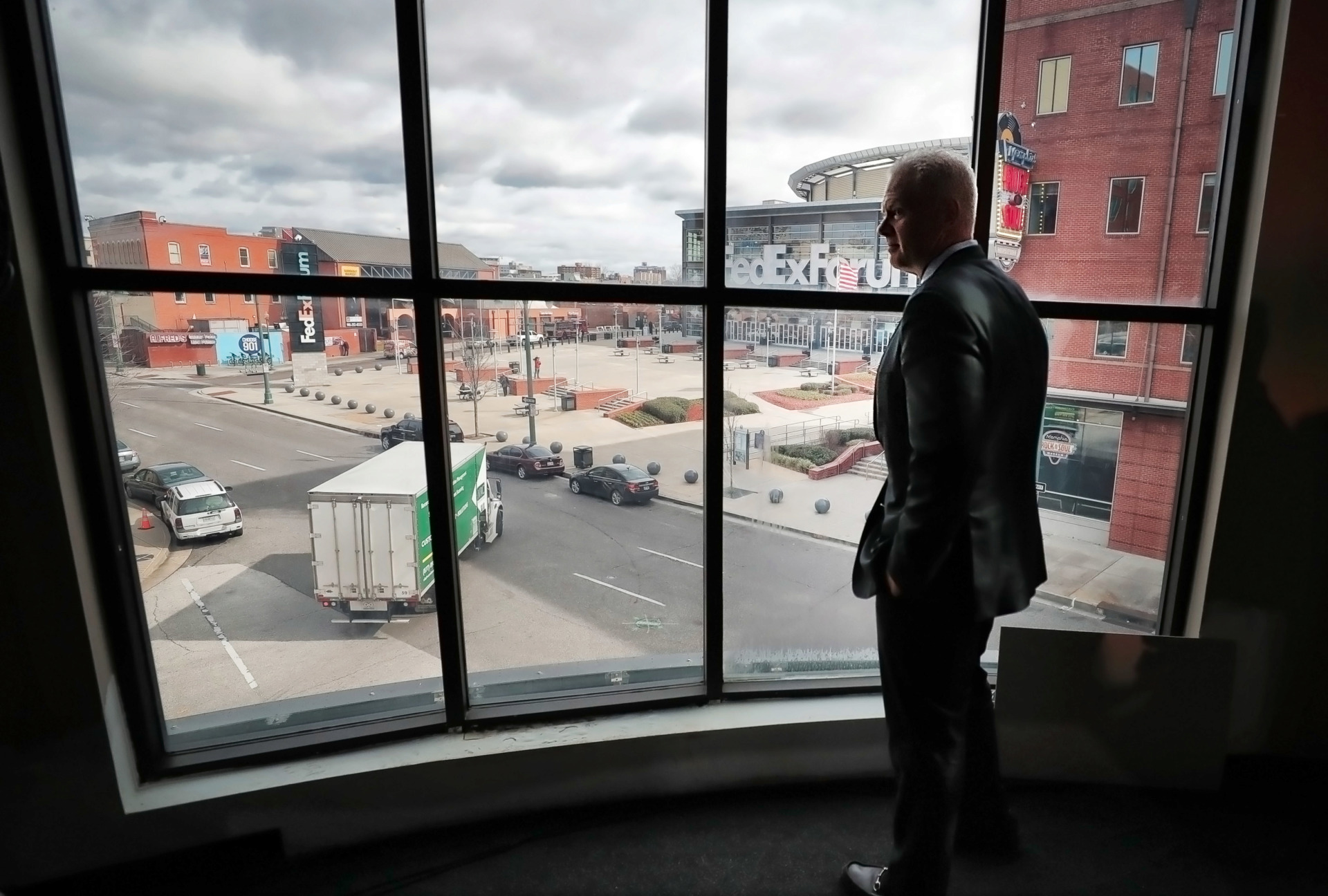 <strong>FedEx Logistics president and chief executive officer Richard W. Smith takes in the view from the company's future headquarters.</strong>&nbsp;(Jim Weber/Daily Memphian)