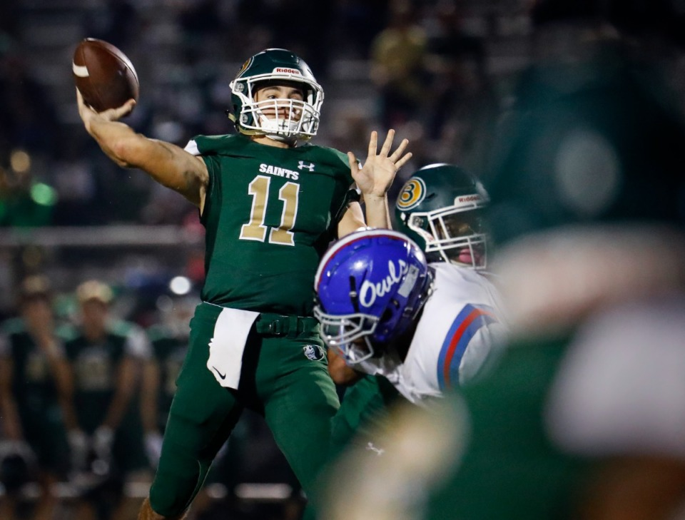 <strong>Briarcrest quarterback J.D. Sherrod makes a pass against the MUS defense during action on Friday, Oct. 1, 2021.</strong> (Mark Weber/The Daily Memphian)