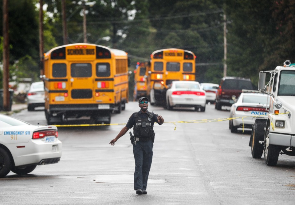 <strong>Memphis Police cordon off the area around Cummings K-8 School, after a student was shot on Thursday, Sept. 30, 2021.</strong> (Mark Weber/The Daily Memphian)
