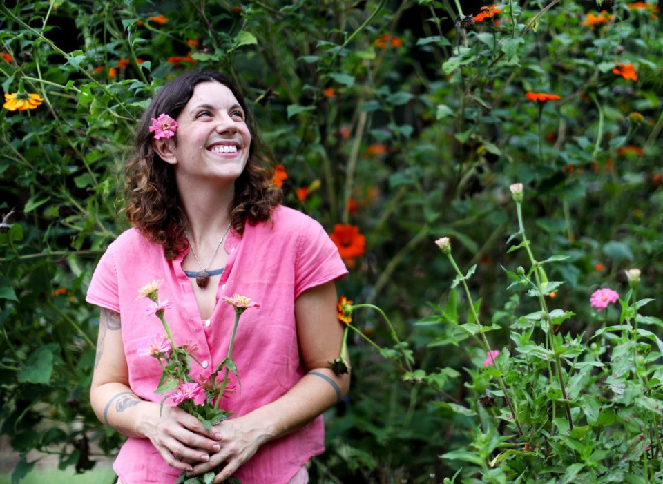 <strong>Eva Brewer, inside her flower garden at Black Spring Farms, began her flower subscription service this summer after moving to the Millington area from her Midtown home, which she had outgrown.&nbsp;</strong>(Patrick Lantrip/Daily Memphian)