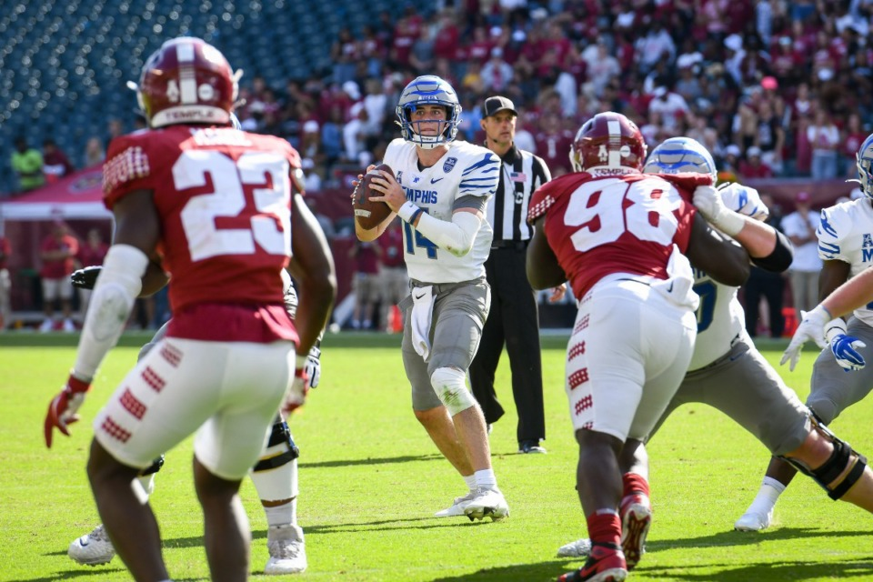 <strong>Seth Henigan (14) of the Memphis Tigers looks to pass the ball during the game against the Temple Owls at Lincoln Financial Field on Oct. 2, 2021 in Philadelphia.</strong> (Kate Frese/Special to the Daily Memphian file)