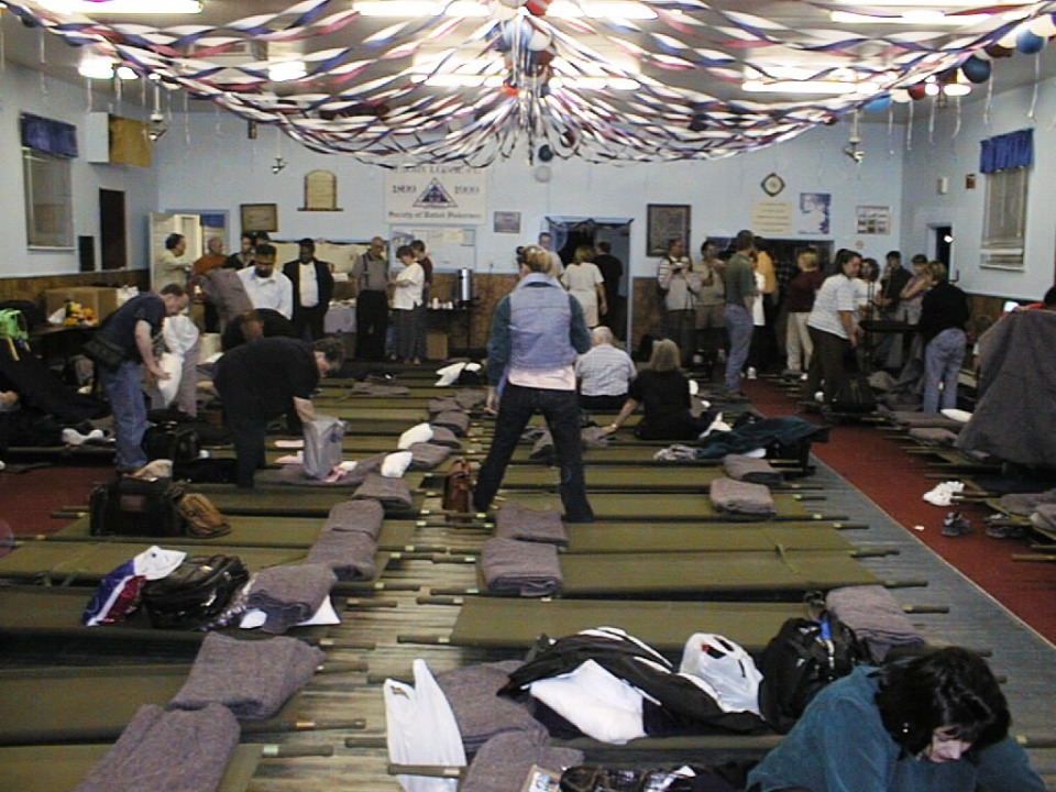 <strong>Airline passengers find cots set up in a Gambo shelter after they are stranded in Newfoundland by the 9/11 attacks.&nbsp; &ldquo;Come From Away&rdquo; dramatizes this story.&nbsp;</strong>(Courtesy Nick Marson)