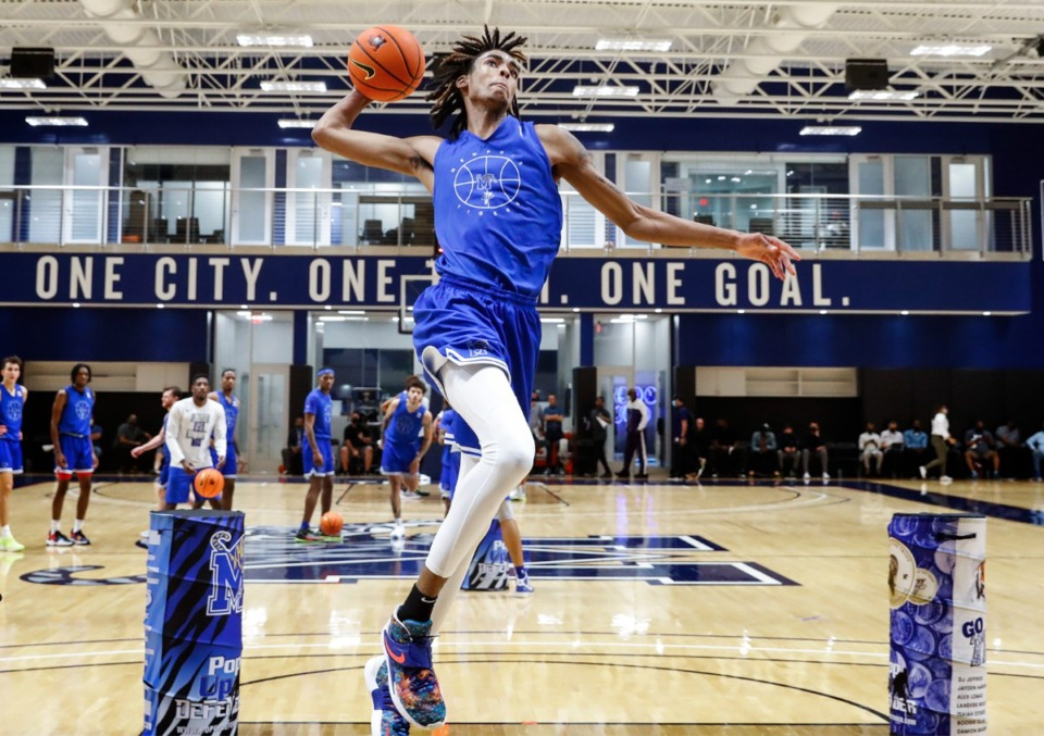 <strong>Memphis Tigers guard Emoni Bates goes up for a dunk during Pro Day on Wednesday, Oct. 6, 2021.</strong> (Mark Weber/The Daily Memphian)