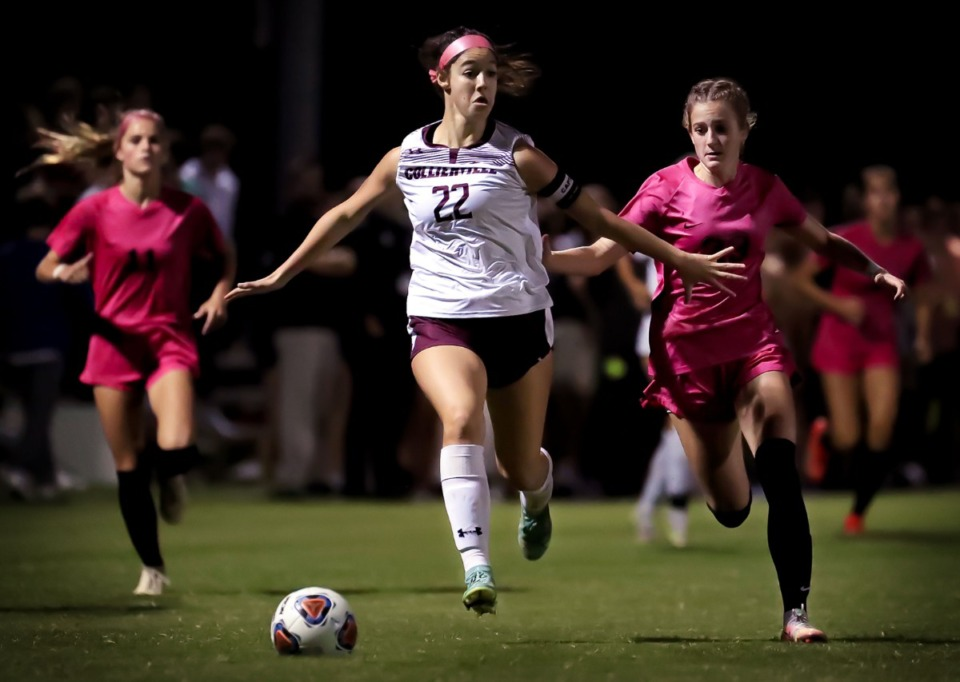 <strong>Collierville&rsquo;s Ellison Suhoza (22) chases down the ball during the Oct. 6, 2021, game against Houston.</strong> (Patrick Lantrip/Daily Memphian)