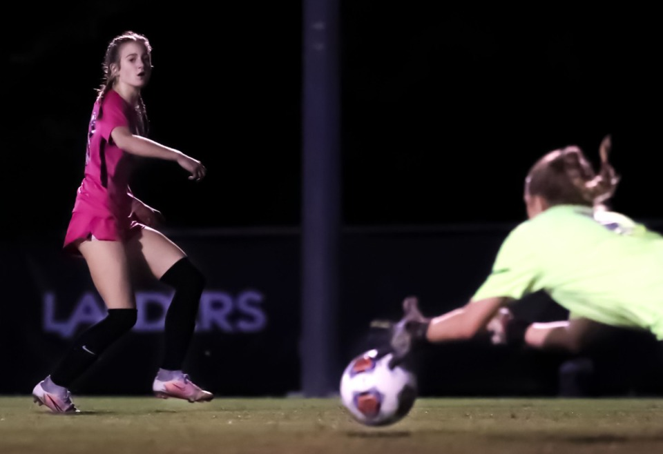 <strong>Houston forward Ellett Smith (23) takes a shot on goal during the Oct. 6, 2021, game against Collierville.</strong> (Patrick Lantrip/Daily Memphian)