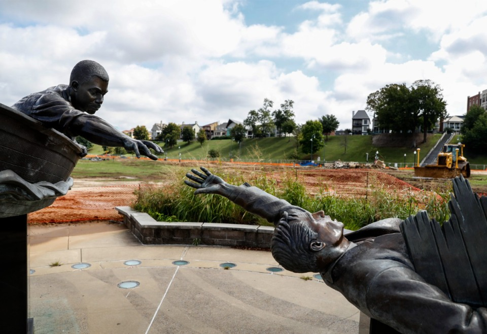 <strong>The existing statue of Tom Lee, created by David Alan Clark in 2006, will remain in place as new artwork is added.</strong> (Mark Weber/The Daily Memphian)