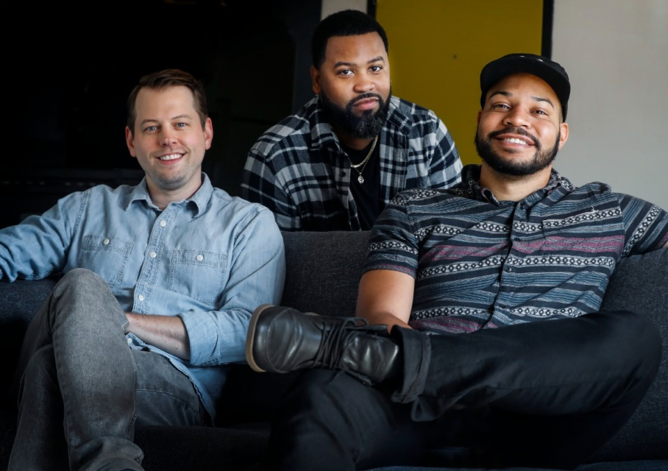 <strong>Baby Grand principals Dan Price (left) and Ben Colar (back) along with Creative Punch founder Chris Porter on Wednesday, Sept. 29, 2021. Porter is now partner in Baby Grand.</strong> (Mark Weber/The Daily Memphian)