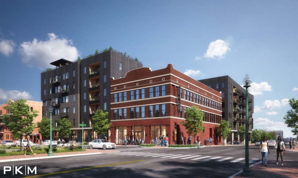 <strong>A mixed-use development will blend the renovated, 120-year-old warehouse at Front and Vance with new, taller construction.</strong>&nbsp;(Credit: PKM Architects)