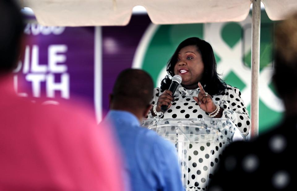 <strong>Memphis Health Center CEO Marilyn Burress speaks at a ribbon cutting of the Memphis Health Center's mobile health clinic Oct. 7, 2021.</strong> (Patrick Lantrip/Daily Memphian)