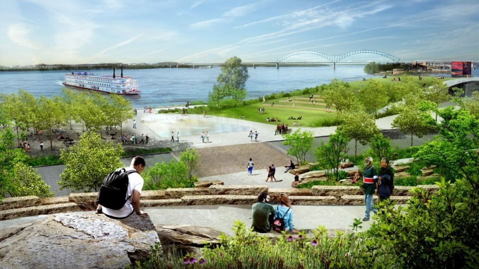 <strong>An August 2020 rendering shows the&nbsp;&ldquo;Civic Gateway&rdquo; proposed for Tom Lee Park.</strong> (Courtesy Studio Gang)