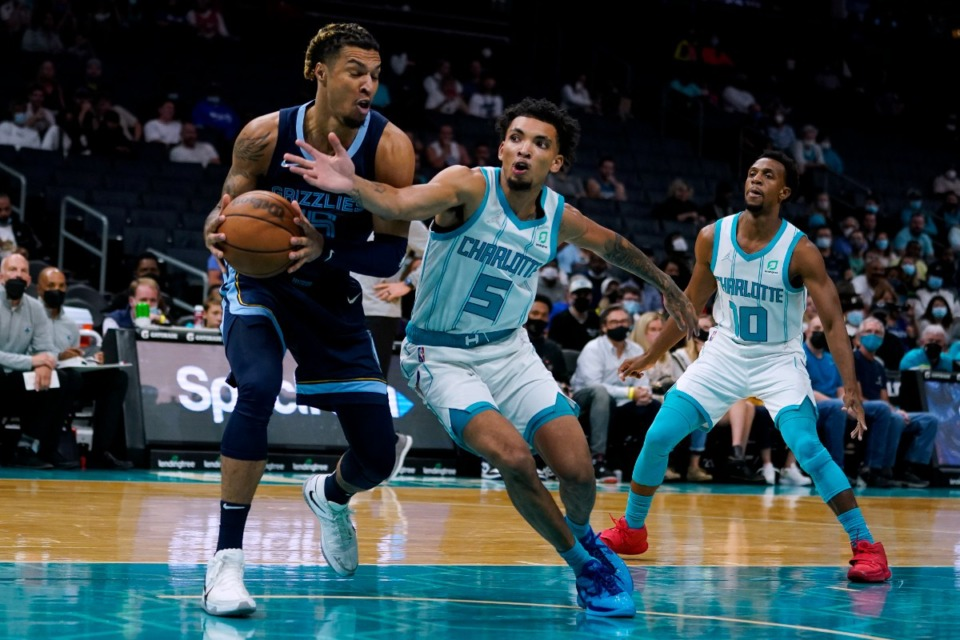 <strong>Memphis Grizzlies forward Brandon Clarke drives to the basket past Charlotte&rsquo;s James Bouknight on Thursday, Oct. 7, 2021, in Charlotte, North Carolina.</strong> (Chris Carlson/AP)