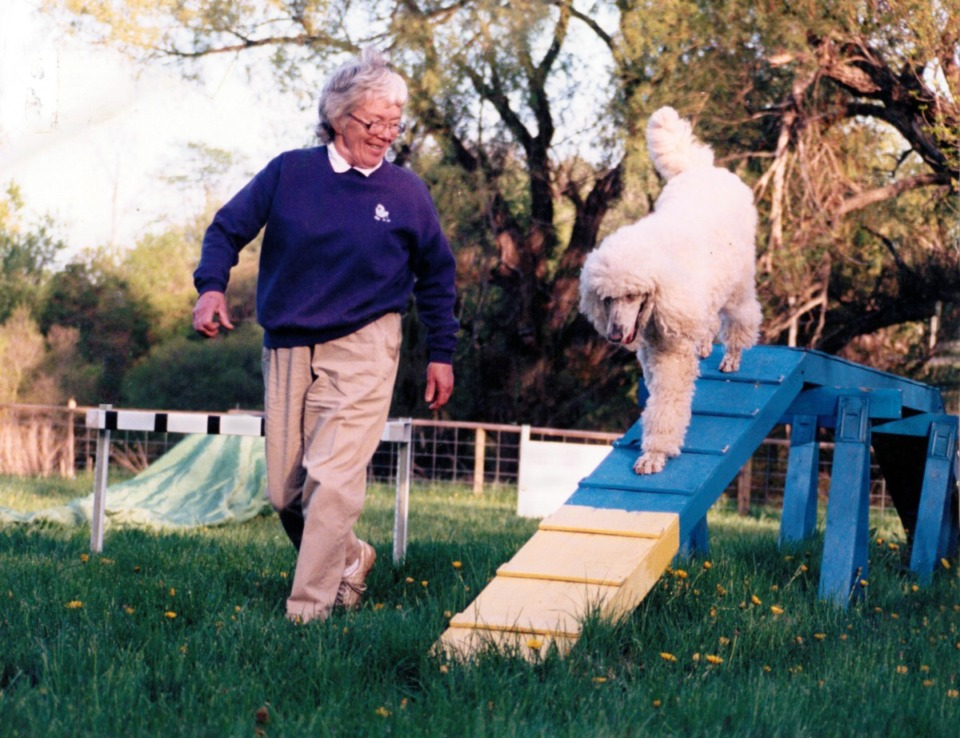 <strong>Dr. Virginia Calkins, who was a physician and the mother of nine, had plenty of what her late husband referred to as &ldquo;get up and go.&rdquo; She had a number of pets over the years, including standard poodles that she used to take on hospital rounds. She passed away early Friday at age 97.</strong> (Calkins Family photo)&nbsp;
