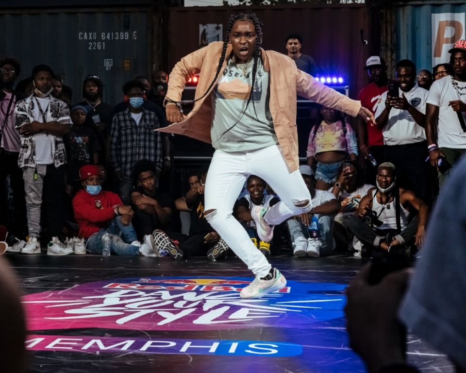 """<strong>Memphis' """"dancebeastelise"""" battles during Red Bull's Dance Your Style competition at Railgarten on Sunday, Oct. 10, 2021.</strong> (Ziggy Mack/Special to The Daily Memphian)"""