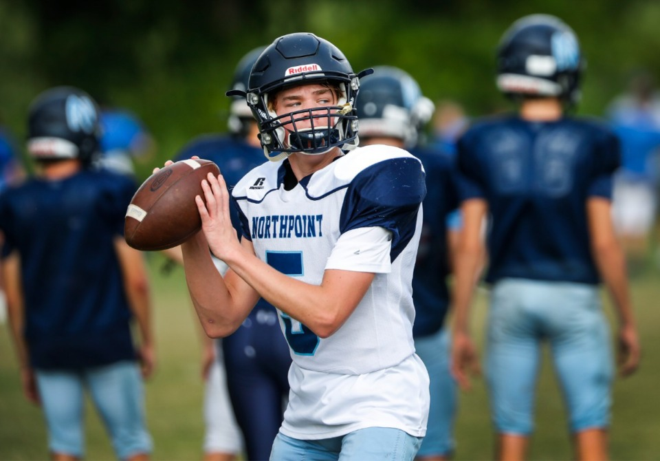 <strong>Northpoint quarterback Jack Patterson makes a throw during practice on Tuesday, Sept. 14, 2021.</strong> (Mark Weber/The Daily Memphian)