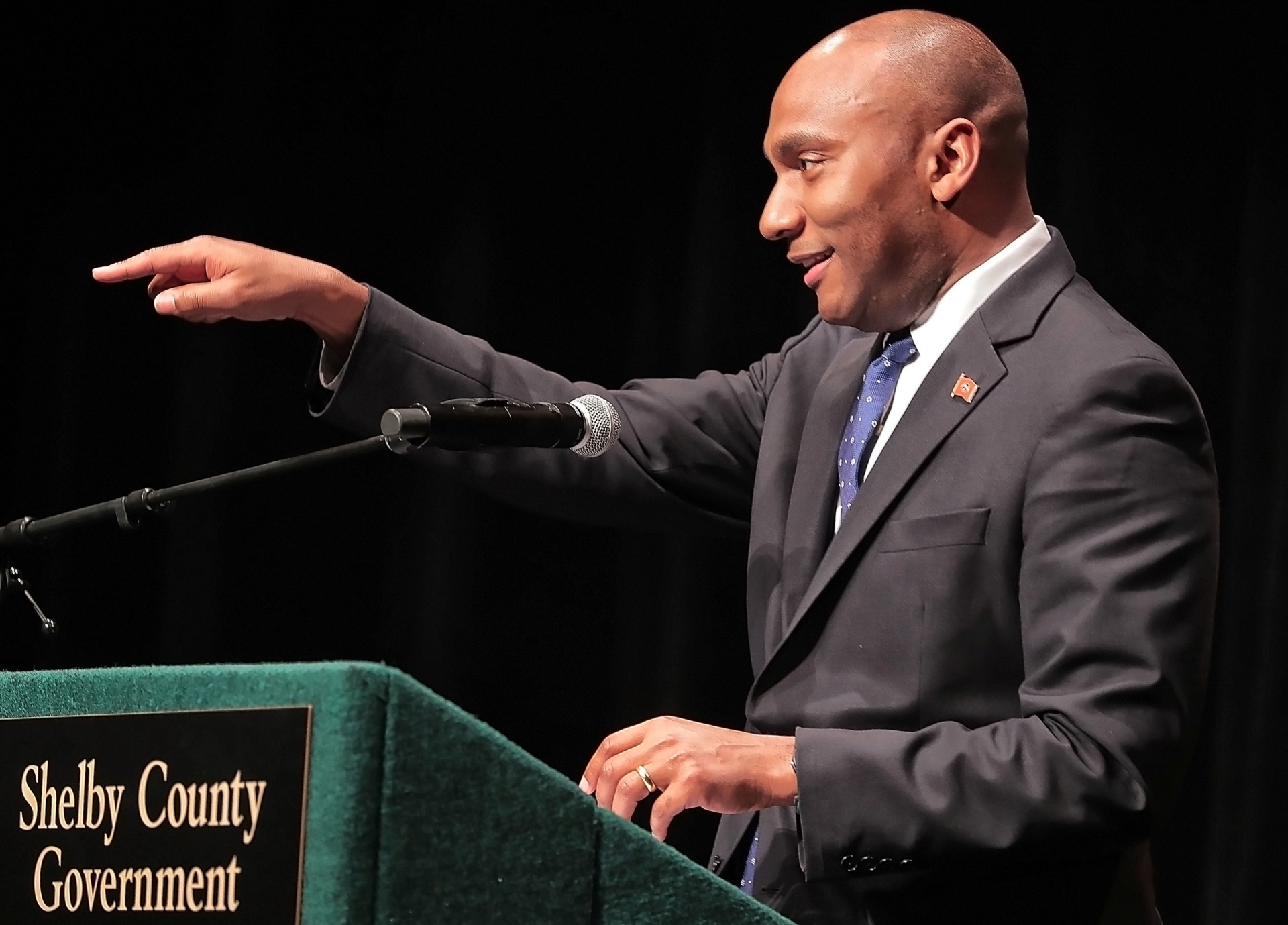 <strong>Shelby County Mayor Lee Harris talks about his first few months in office and top priorities for the coming year during his first State of the County address at the Halloran Centre on Feb. 16, 2019.</strong> (Jim Weber/Daily Memphian)