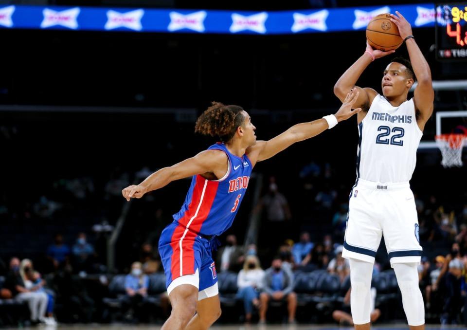 <strong>Grizzlies guard Desmond Bane (22) shoots a 3 during the Oct. 11 preseason game against the Detroit Pistons.</strong> (Patrick Lantrip/Daily Memphian)