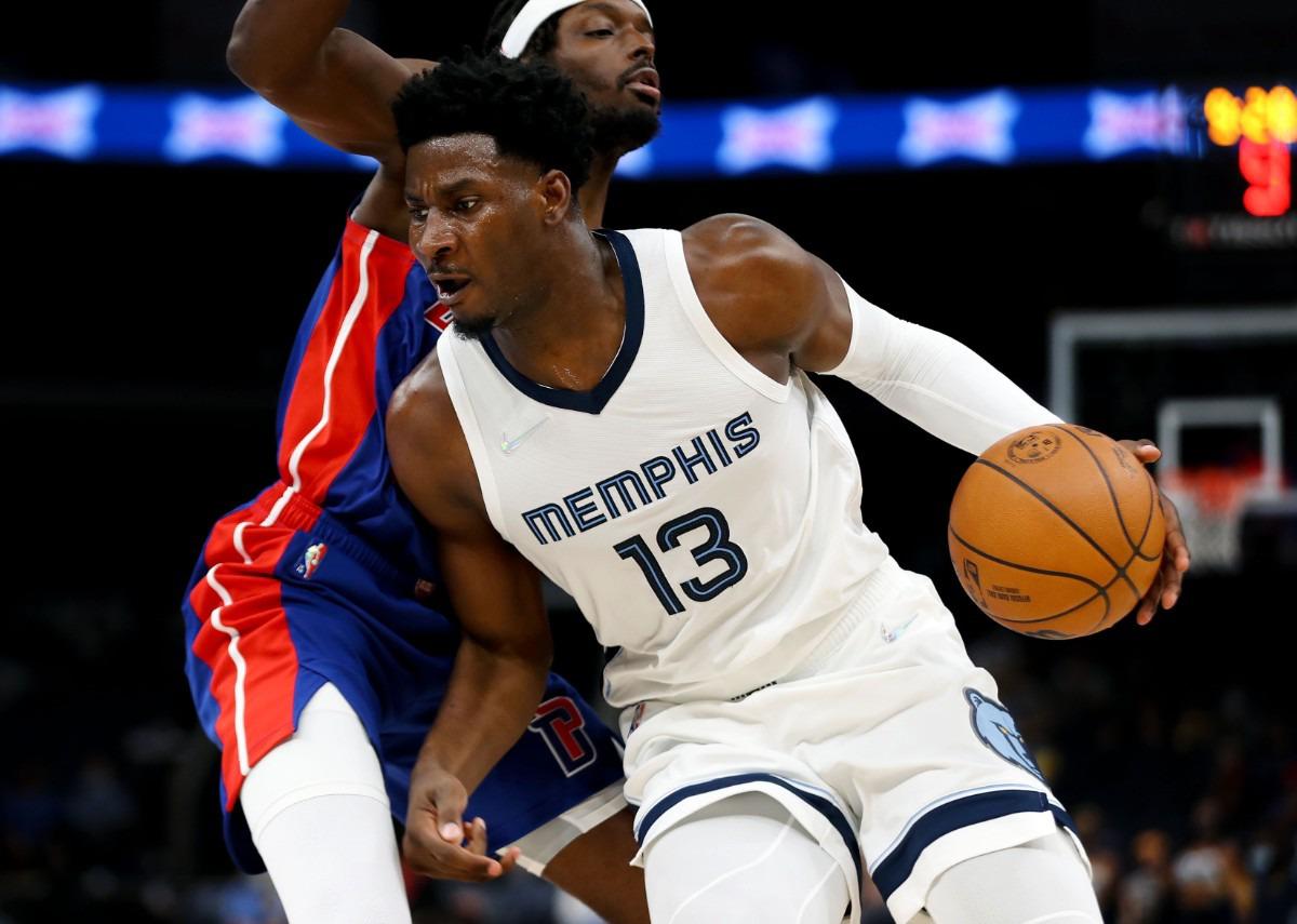 <strong>Grizzlies forward Jaren Jackson Jr. (13) drives to the basket during the Oct. 11 preseason game against the Detroit Pistons.</strong> (Patrick Lantrip/Daily Memphian)