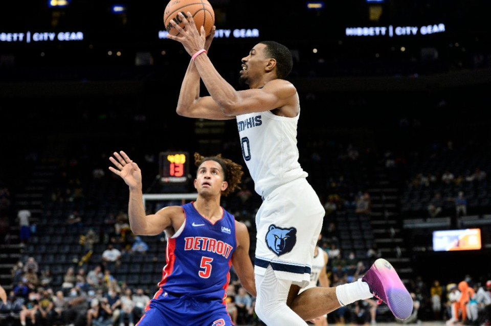 <strong>Memphis Grizzlies guard De'Anthony Melton (0) shoots against the Detroit Pistons on Oct. 11.&nbsp;In the preseason, Bane is 10-for-23 from 3-point range (43%) and 12-for-21 inside the arc (57%).</strong> (Brandon Dill/AP file)