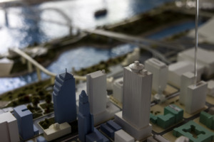 The 100 North Main Building is seen on a model of Downtown Memphis at the Downtown Memphis Commission offices on Sunday, May 30. (Brad Vest/Special to the Daily Memphian)