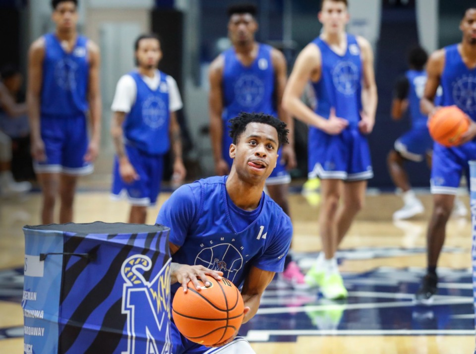 <strong>Memphis Tigers guard Tyler Harris runs through drills during pro day on Oct. 6. The Memphis Tigers are 12 days away from their first exhibition game, so here are 12 questions that might get answered.</strong>&nbsp;(Mark Weber/Daily Memphian file)