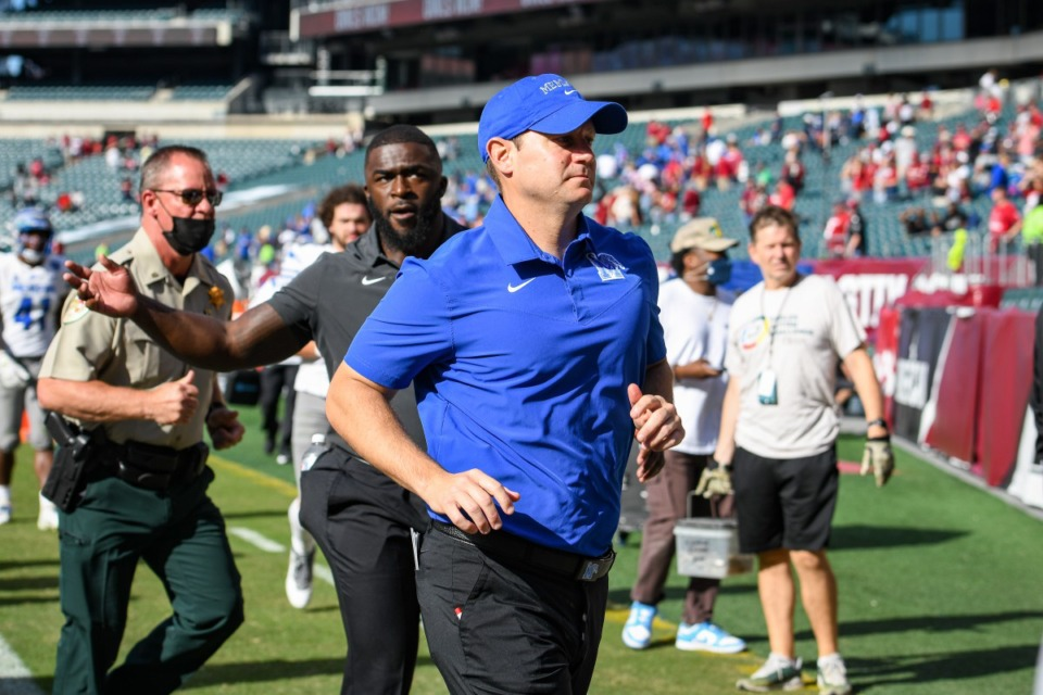 <strong>&ldquo;No sleep for the coaches,&rdquo; said Memphis coach Ryan Silverfield, seen here Oct. 2. His Tigers will have less than 109 hours between the kickoff against Tulsa Saturday, Oct. 9, and the kickoff against Navy Thursday, Oct. 14.&nbsp;</strong>(Kate Frese/file)