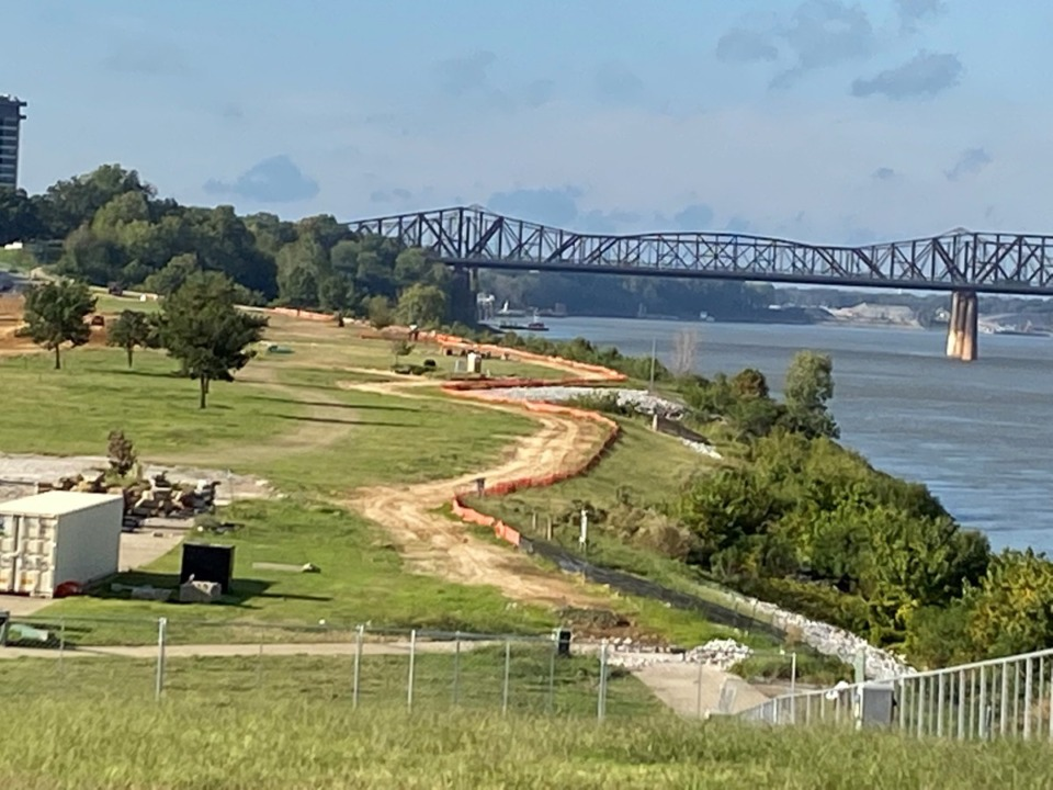 <strong>A river&rsquo;s edge path in Tom Lee Park secured an $800,000 grant from the Tennessee Department of Environment and Conservation. The outline of the path follows an orange tarp as construction work continues in the Downtown park.</strong> (Bill Dries/Daily Memphian)