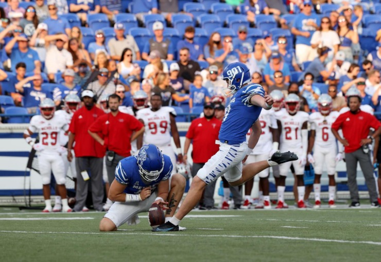 University of Memphis punter Joe Doyle is 7-of-10 on the year, including the 51-yard field goal against Mississippi State. (Courtesy Memphis Athletics)