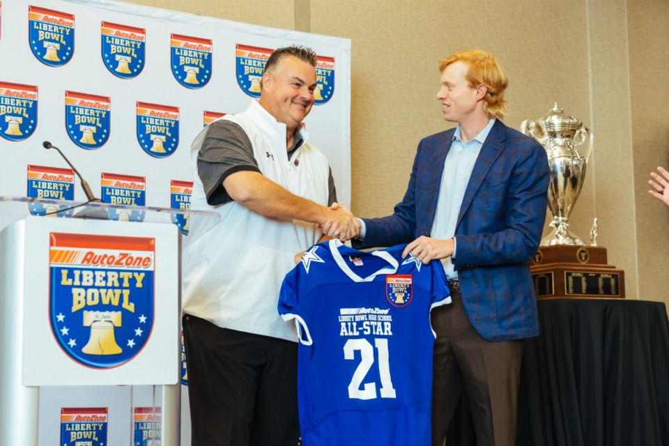 <strong>Briarcrest High School football coach Brian Stewart presented as coach for Team Blue for the 19th Annual Liberty Bowl High School All-Star Game on October 13, 2021.</strong> (Ziggy Mack/Special to The Daily Memphian)