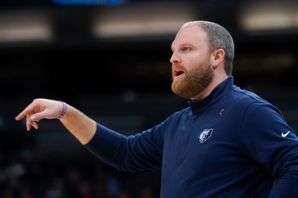 <strong>Grizzlies coach Taylor Jenkins shouts instructions in the game against Indiana on Oct. 13 in Indianapolis.</strong> (Darron Cummings/AP)