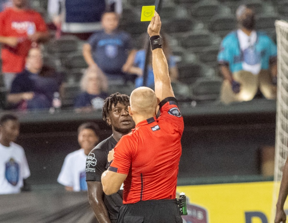 <strong>Memphis 901 FC Midfielder Dominic Oduro gets a yellow card during Wednesday's match with Louisville City FC at AutoZone Park.</strong>&nbsp;(Greg Campbell/Special for The Daily Memphian)