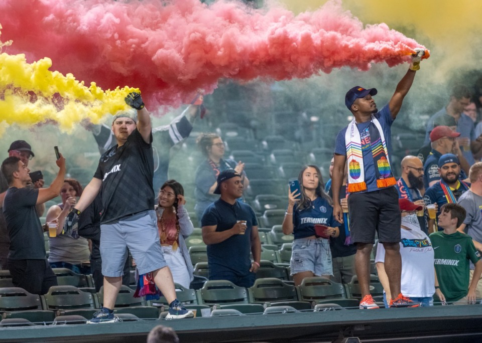 <strong>Memphis 901FC fans show their support for the team during Wednesday's contest with Louisville City FC at AutoZone Park.</strong>&nbsp;(Greg Campbell/Special to The Daily Memphian)