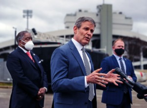 <strong>Tennessee Gov. Bill Lee (middle, last February) called last week for review of the Basic Education Program, the state&rsquo;s funding formula, to determine how education dollars are distributed.</strong>&nbsp;(Patrick Lantrip/Daily Memphian)