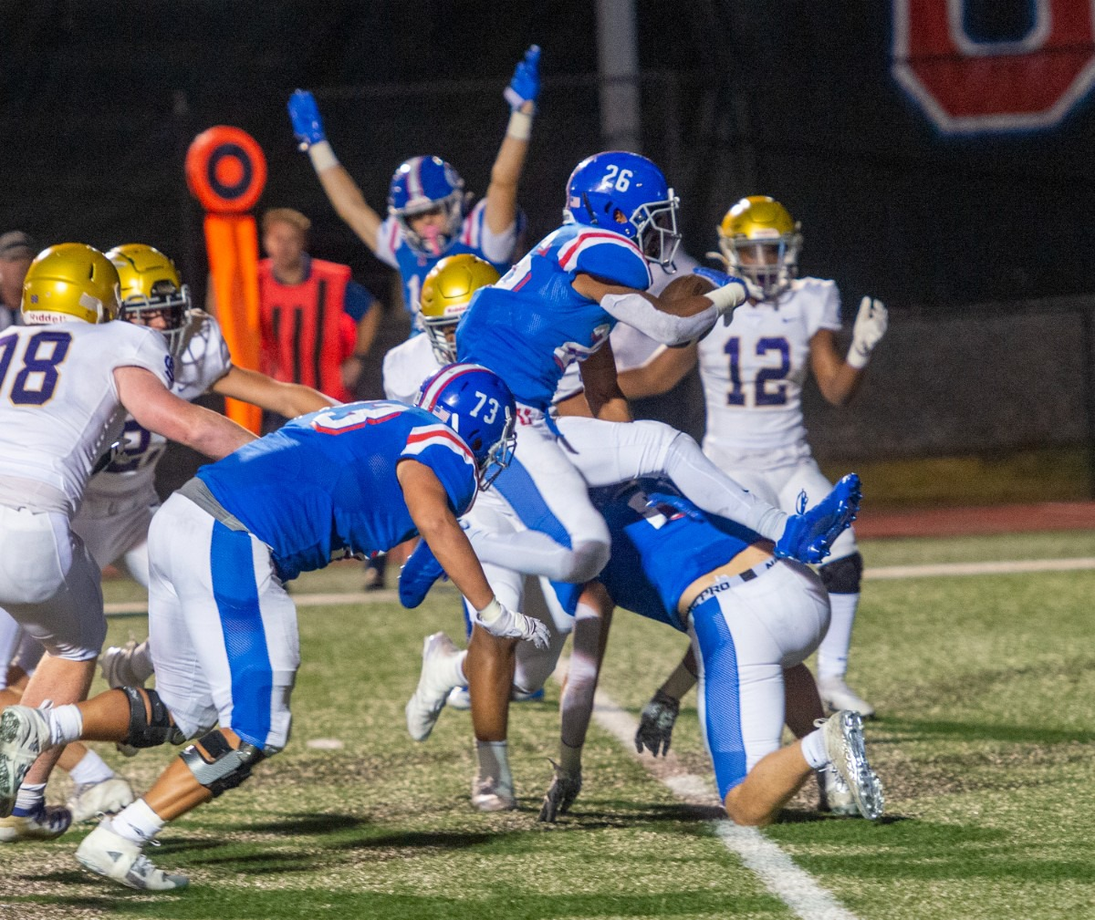 <strong>MUS running back Hunter Barnes crosses over the goal line for his second running touchdown of the night in the crosstown rivalry with CBHS on Friday, Oct. 15, 2021.</strong> (Greg Campbell/Special to The Daily Memphian)