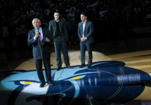 <strong>NBA commissioner David Stern introduces new Memphis Grizzlies chairman Robert Pera, center, and new CEO Jason Levien to fans on opening night, Nov. 5, 2012, against the Utaz Jazz at FedExForum.</strong> (Daily Memphian file)