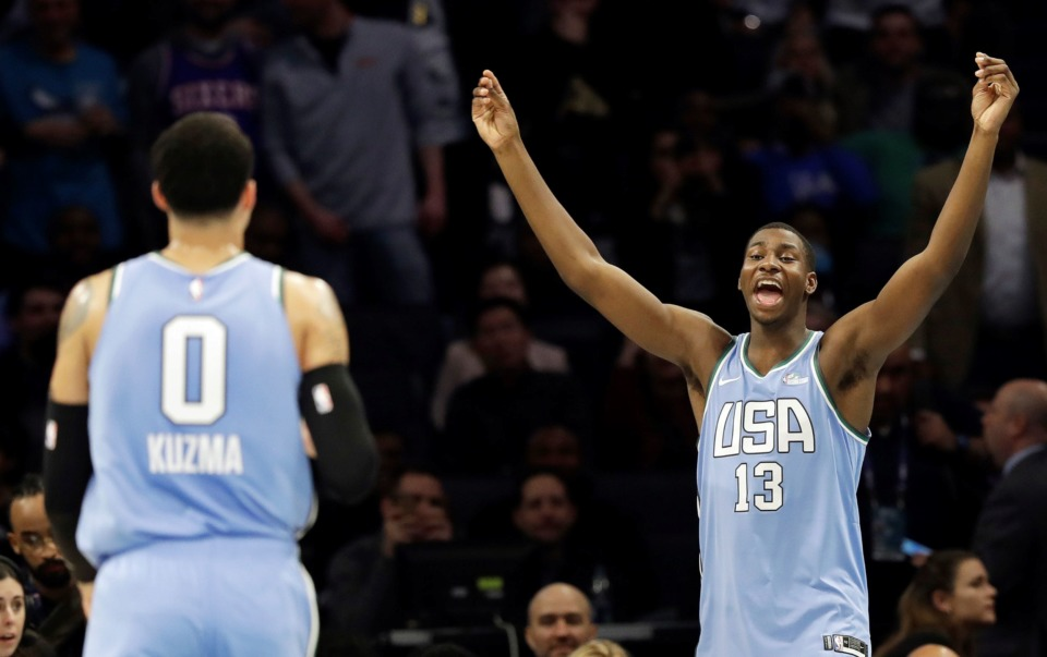 <span><strong>U.S. Team's Jaren Jackson Jr., of the Memphis Grizzlies, celebrates late in the NBA All-Star Rising Stars basketball game against the World Team, Friday, Feb. 15, in Charlotte, N.C. The U.S. Team won 161-144.</strong> (Chuck Burton/Associated Press)</span>