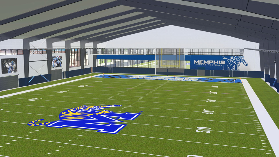 <strong>The 76,000-square-foot, climate-controlled indoor football facililty will feature a full 120-yard artificial turf field.&nbsp;</strong>(Photo courtsey of Memphis Athletics)