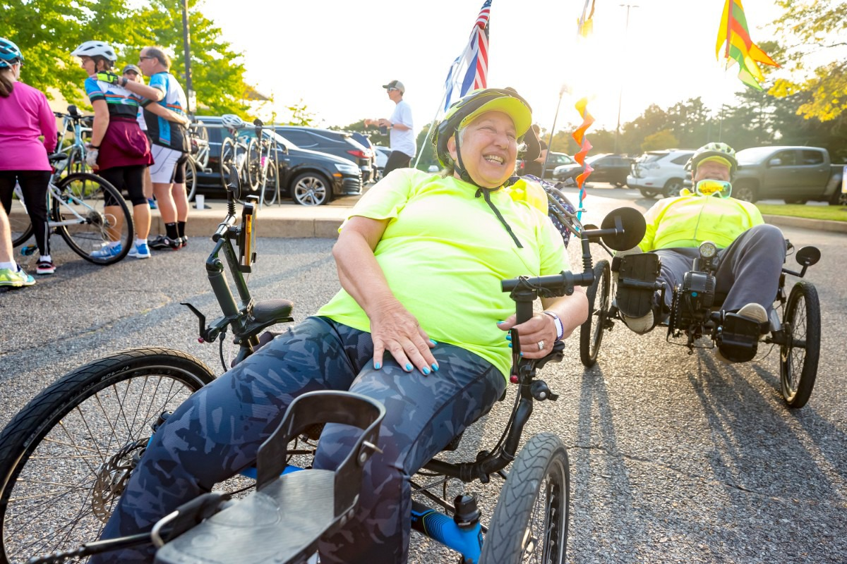 <strong>Wendy Lippin and her husband Tom Treadway road their recumbent tricycles in the 18-mile Ride for Education that started at Bornblum Jewish Community School in East Memphis, Sunday, Oct. 24, 2021.</strong> (Ziggy Mack/Special to The Daily Memphian)