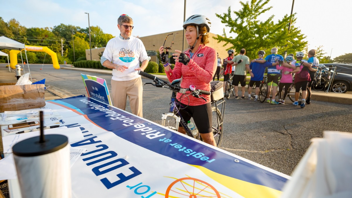 <strong>Bike enthusiast Jeri Moskovitz registers for the Ride for Education near Germantown on Sunday, Oct. 24, 2021.</strong> (Ziggy Mack/Special to The Daily Memphian)
