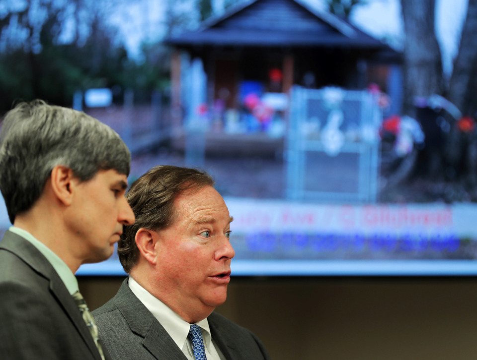 <strong>Lawyers Marty Regan (right) and Lewis Thomason talk about the state of Aretha Franklin's childhood home during a hearing on Tuesday, Feb. 19, 2019, in Judge Patrick Dandridge's Environmental Court to update the status of renovations being done to the historic site.</strong> (Jim Weber/Daily Memphian)