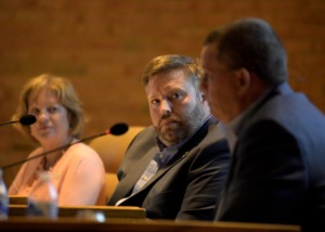 <strong>Brian Ueleke (middle, seen here in July), is one of the aldermen who spoke about the new neighborhood planned near Forest Hill.</strong> (Houston Cofield/Special To The Daily Memphian)